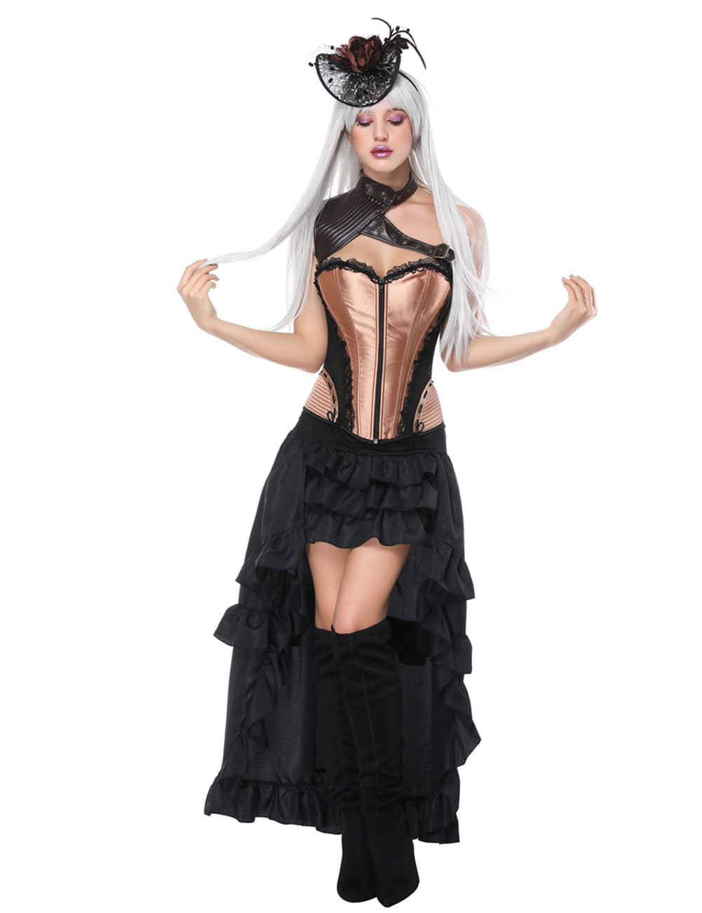 Breathe Freely Three Pieces Lace-Up Corset Layered Skirts Waist Slimmer