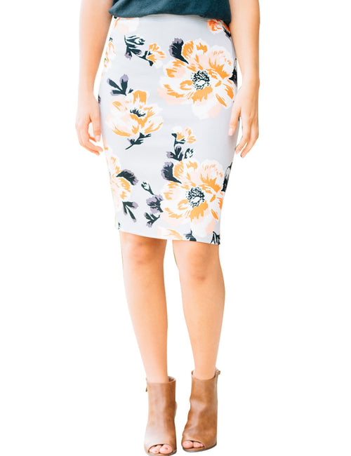 Bright Flower Pattern Package Hip Bodycon Skirt Womens Trendy Clothes