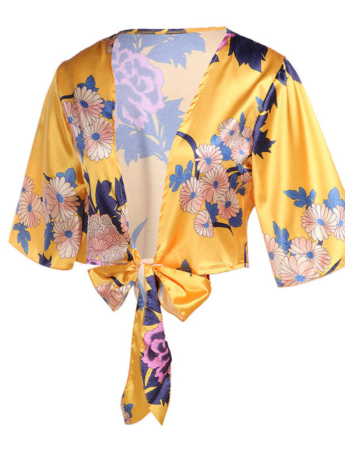 Bright V-Neck Top Floral Printed Bell Sleeve Elastic Material