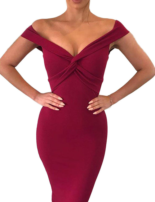 Brightly Twist Bandeau Neck Package Hip Dress Hidden Zipper Feminine Elegance