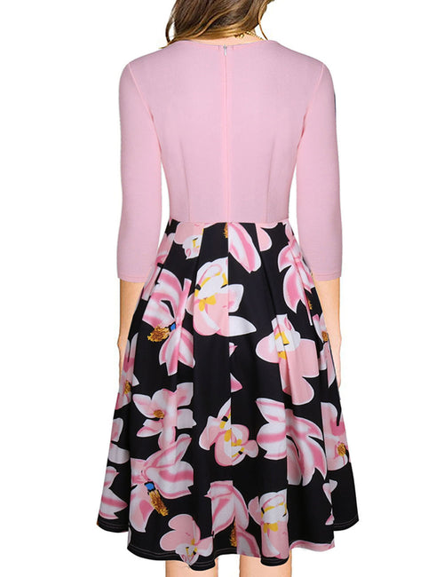 Brilliant V Neck Zipper Closure Back Flower Skater Dress Elasticity