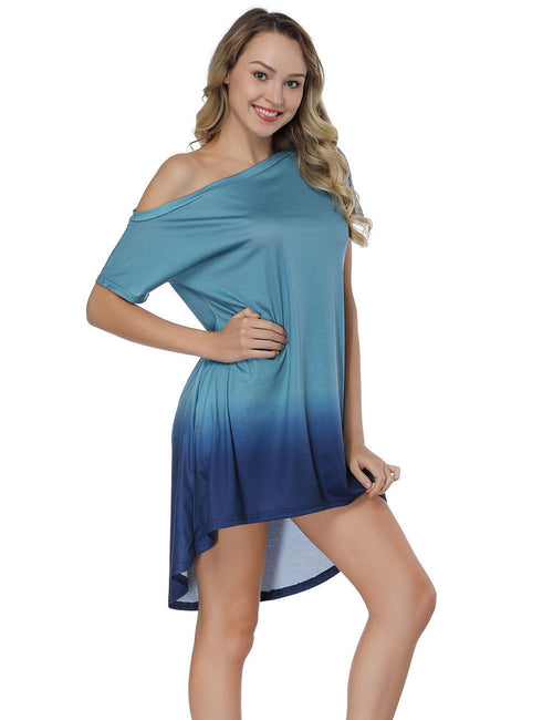 Captivating Dip Dye Shift Dress Off The Shoulder Fashion Design