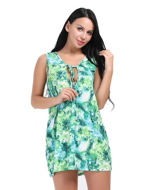 Captivating Printed Tank Style Tie Neck Shift Dress Free Time