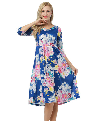 Casually Summer Loose Fitting Flower Ruffle Hem Dress 3/4 Sleeve Adult