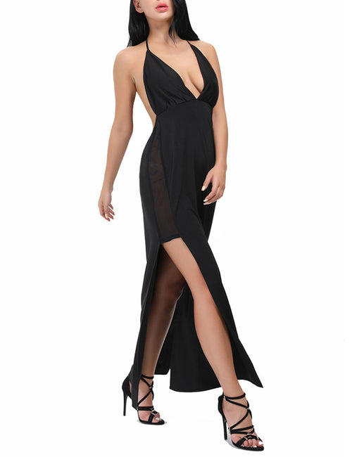 Causal Deep V Neckline Backless Halter Maxi Dress Sleeveless All-Match Style