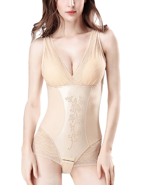 Classic Floral Lace Open Crotch Bottom Shapewear Body Trimmer