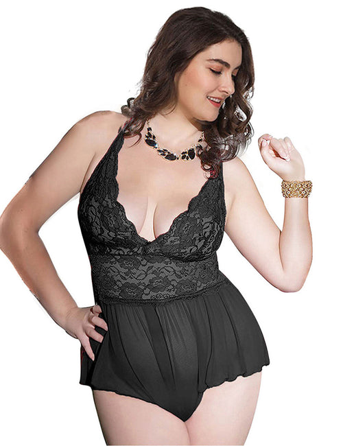 Classic Plus Size Lace Ruched Teddies Patchwork Quality Assured