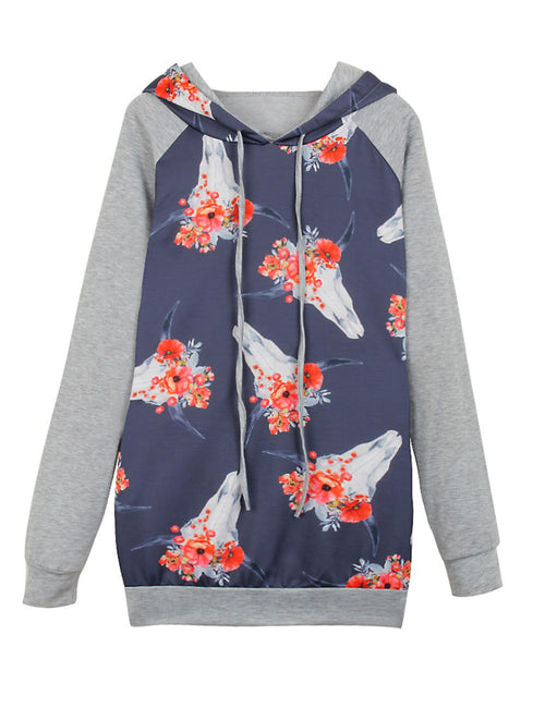 Classical Full Sleeve Print Hoodie Home Clothes