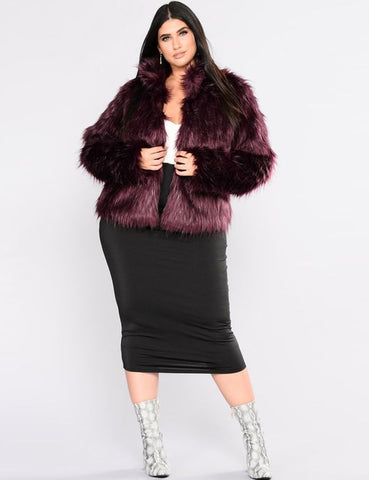Furry Fur Warm Long Sleeve Coat