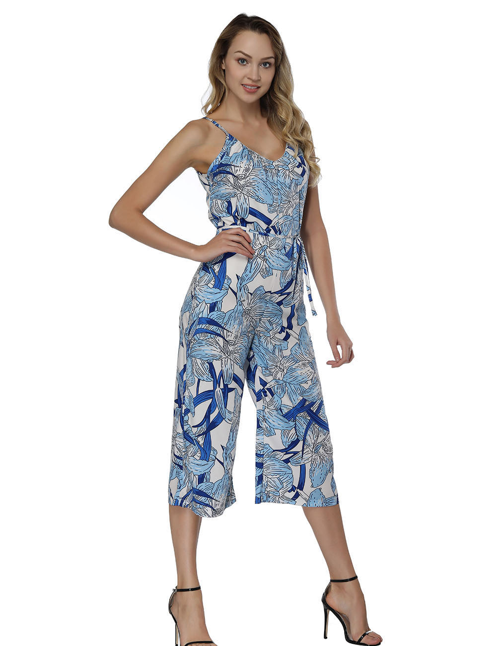 Comfy Tropical Print Slender Straps Summer Jumpsuit Regular Fit