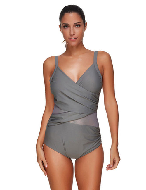 Conservative Padded Across Mesh Plus Size Swim Cover Seaside Time