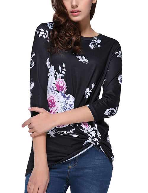 Contouring Flower Pattern Ruching Blouse Long Sleeves Sexy Fashion