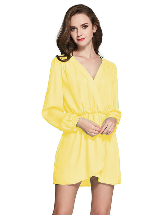 Contouring Flowy Mini Dress Long Sleeves Formal Settings