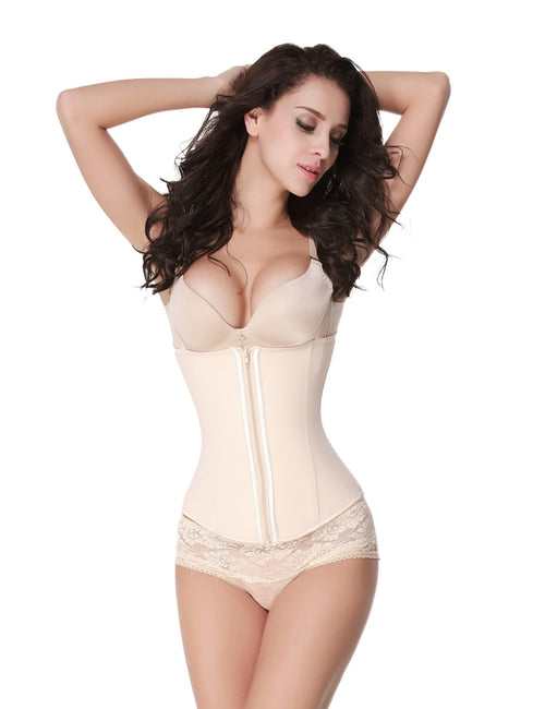 Curve Smoothing Spaghetti Strap Zipper 5 Steel Bones Latex Corset Vest Slimmer