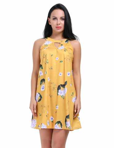 Dainty Cut Out Mini Length Flower Dress No Sleeve Female Charm