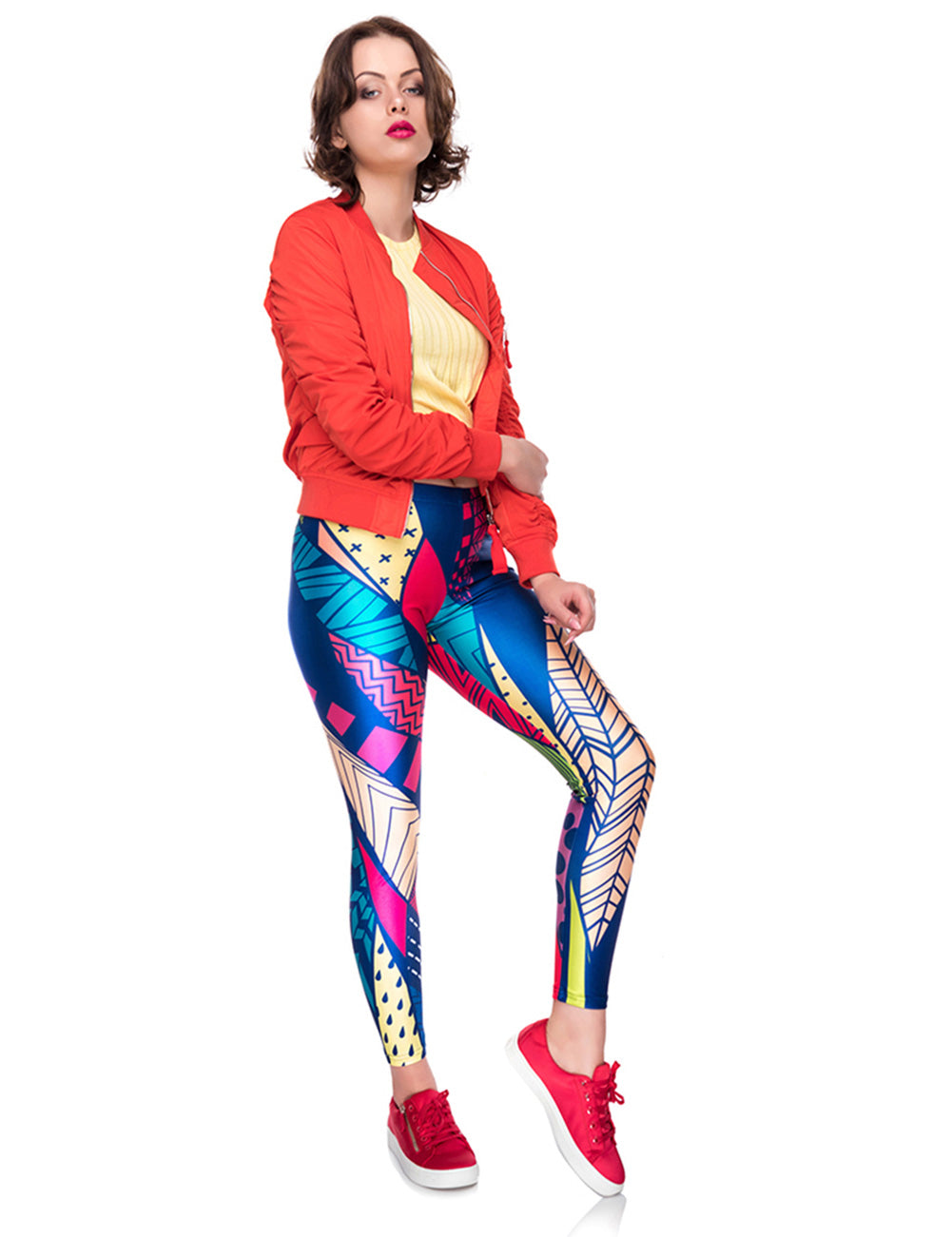 Dainty Digtal Print Cropped Tights Mid Rise Skinny