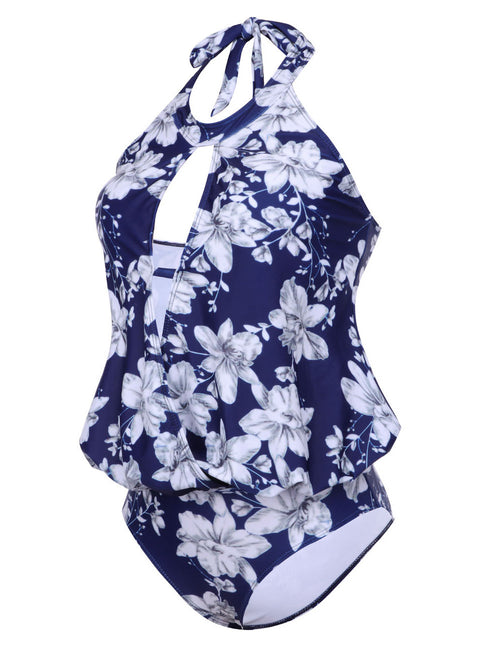 Dainty Large Floral One Piece Swimsuit Wireless Hollow Out Seaside Vacation