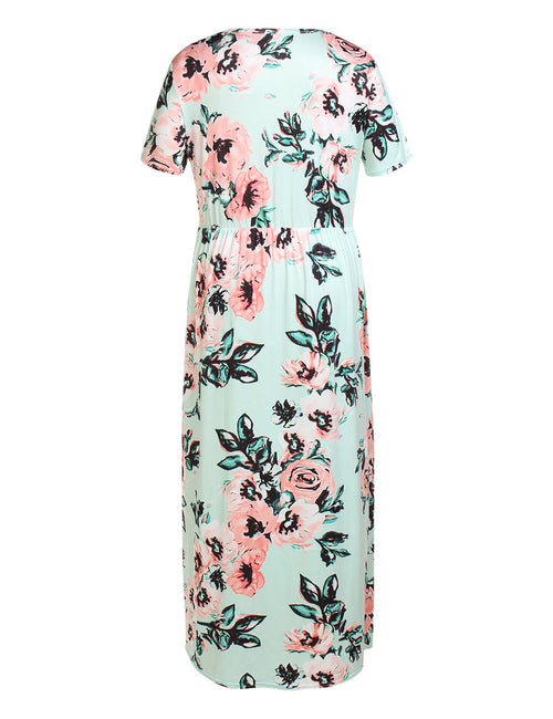 Dainty Queen Size Floor Length Dress Floral Print Honeymoon