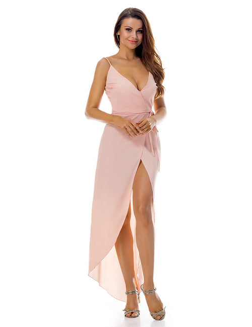 Daring V Back And Neck Asymmetrical Wrap Dress Slit Women Fashion