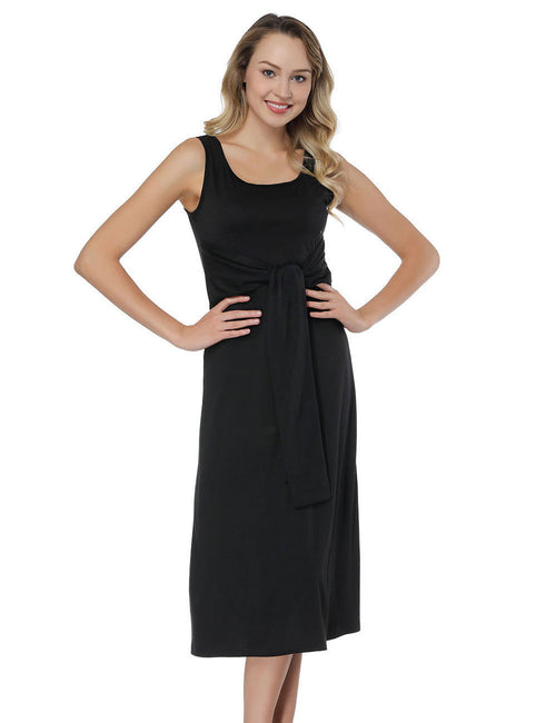 Delightful Scoop Neck Vest Dresses Multi-Way Sash Chic Fashion