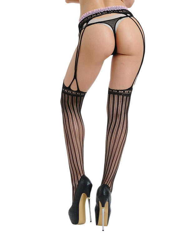 Delightful Sheer Stretch Fishnet Stockings Sewn-On Garters Hot Lady