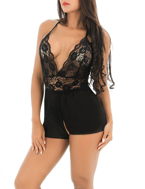 Delightful V Neck Crisscross Lace Teddies Mesh Open Crotch Pant High Quality
