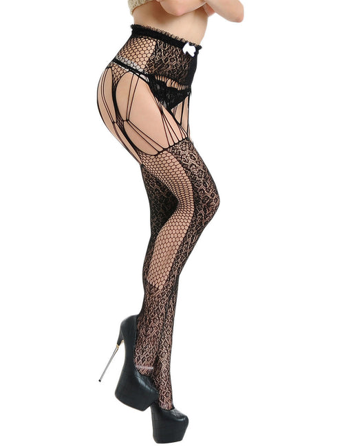 Delightfully Floral Lace Waist Garter Fishnet Stocking Fashion Online Mature Female