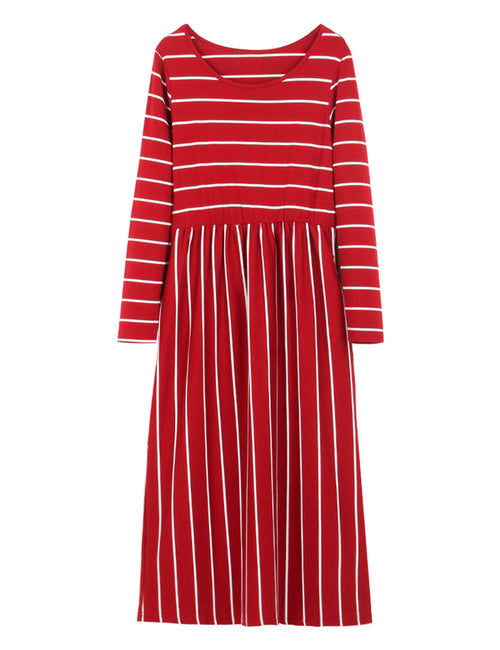 Demure Striped Design Fall Shift Dress Long Sleeve For Women