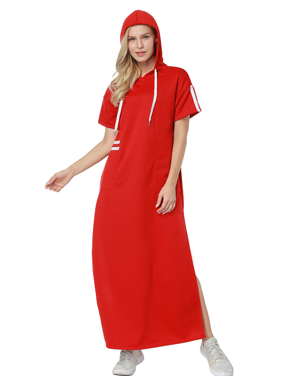Distinctive Double Side Split Maxi Dress With Drawstring For Lover