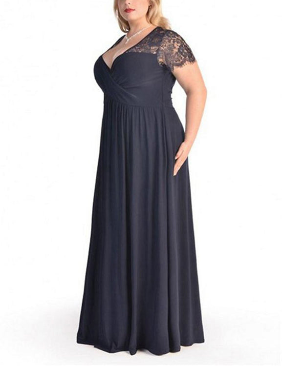 Extra Evening Plus Formal Gowns High Waist Plunge Neck Lace Latest ...