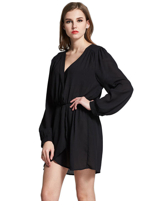 Distinctive Pure Long Sleeve Shirt Dress Elastic Waist For Woman