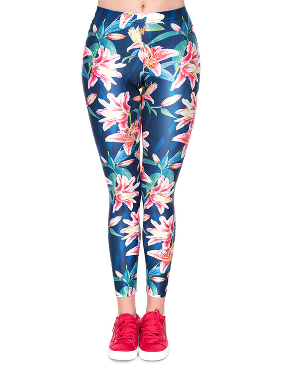 Dreaming Bodycon Flower Printing Nine Cents Trousers 3D Digital Natural Fit