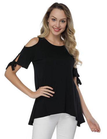 Dreamlike Cold Shoulder Shirts Knot Short Sleeves Simplicity