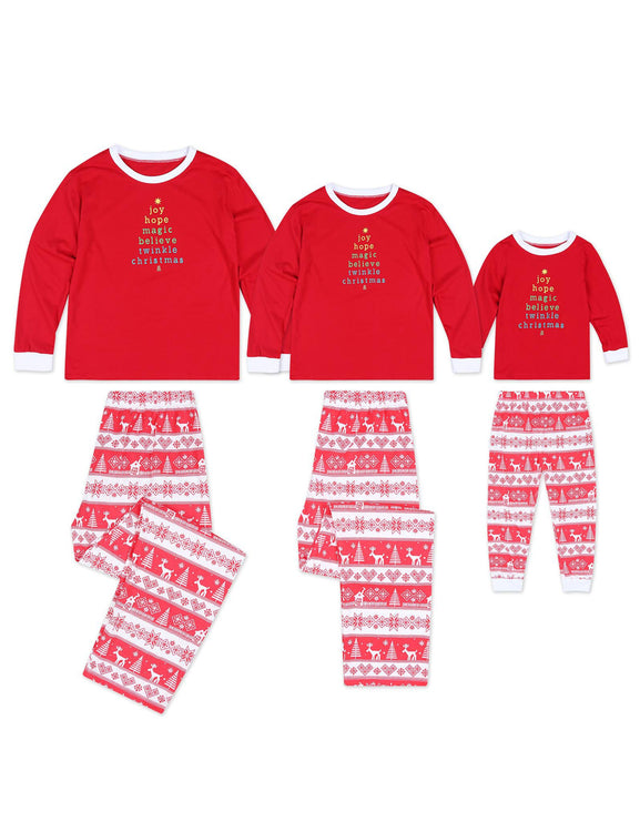 Christmas Family Pajamas Letters Trees Reindeer Pattern Crew Neck