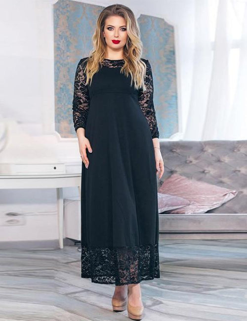 Lace Patchwork Loose Long Dress