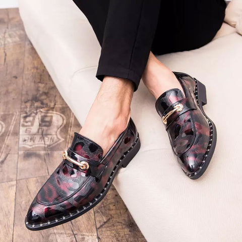 Fashion Men Leather Shoes Pointed Toe Anti-Slip Stitching