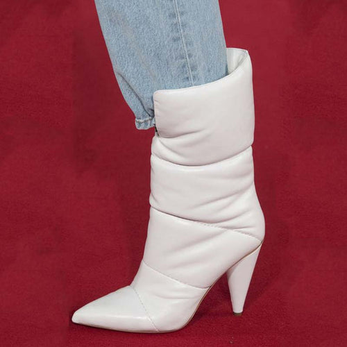 White Cone Heel Down Boots