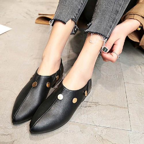 Women Shoes Pointed Toe Square Heels Slip-On