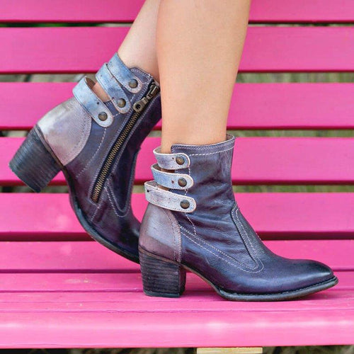 Zipper Winter Chunky Heel Boots