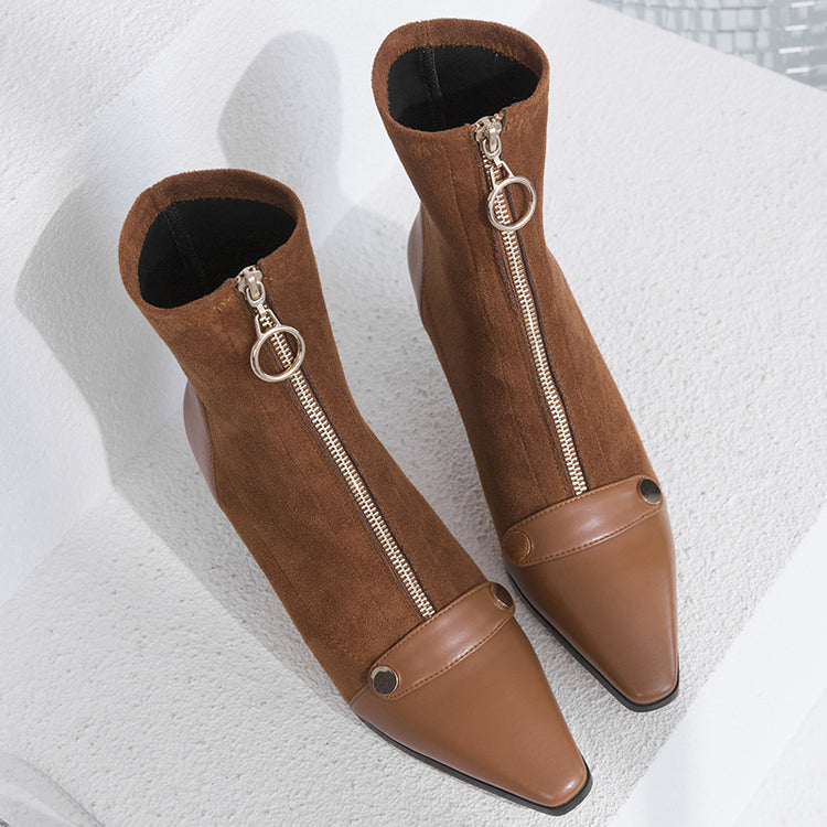 Retro Zip Pointed Toe Synthetic Pelle Ankle Boots