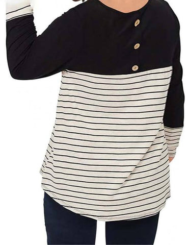 Plus Size Women T-Shirt Long Sleeves Striped Patchwork