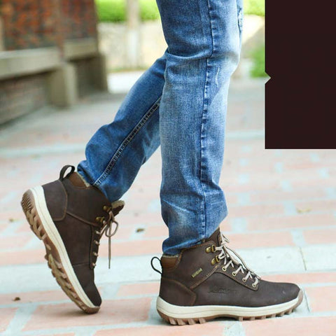 Men Warm Boots Plush Shoes Big Size Anti Skidding