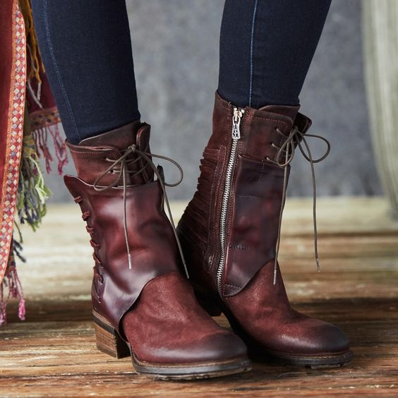 Retro Mid Calf Leather Women's Boots