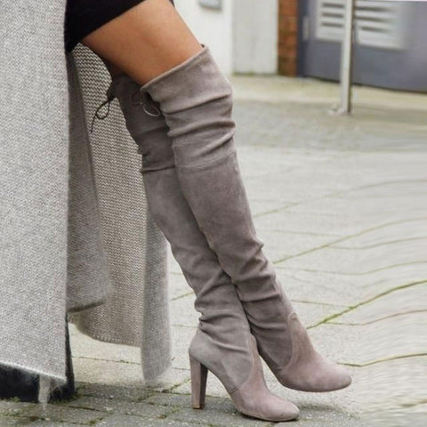 Large Size Women Boots Knee Length High Heel