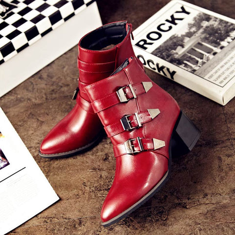Women Leather Boots Mid-Calf Buckle Straps Zipper