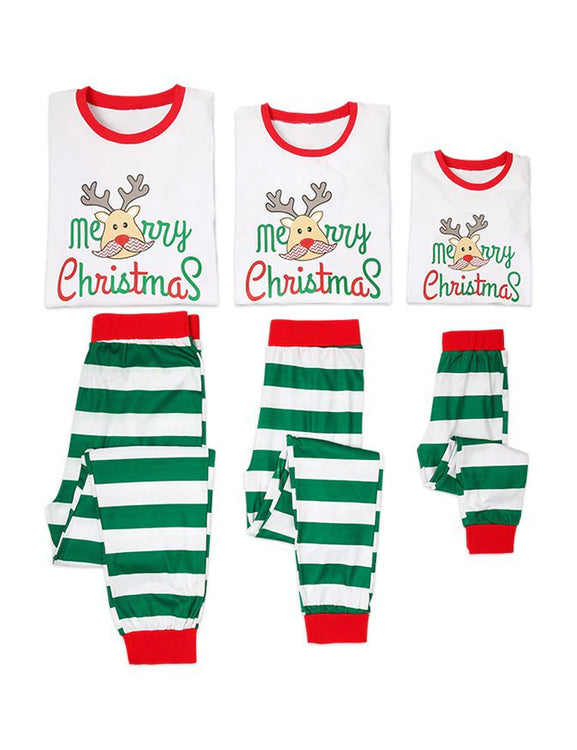 Christmas Cotton Family Sleepwear Deer Print Stripes Pattern