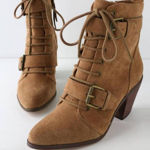 Vintage Women Ankle Boots Lace Up Cross-Tied