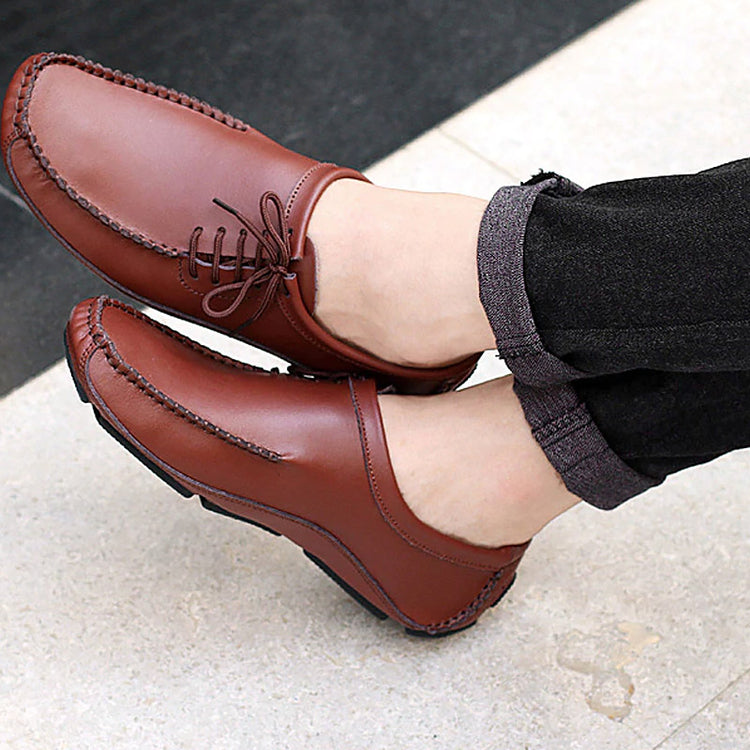 Casual Men Leather Shoes Round Head Lace-Up