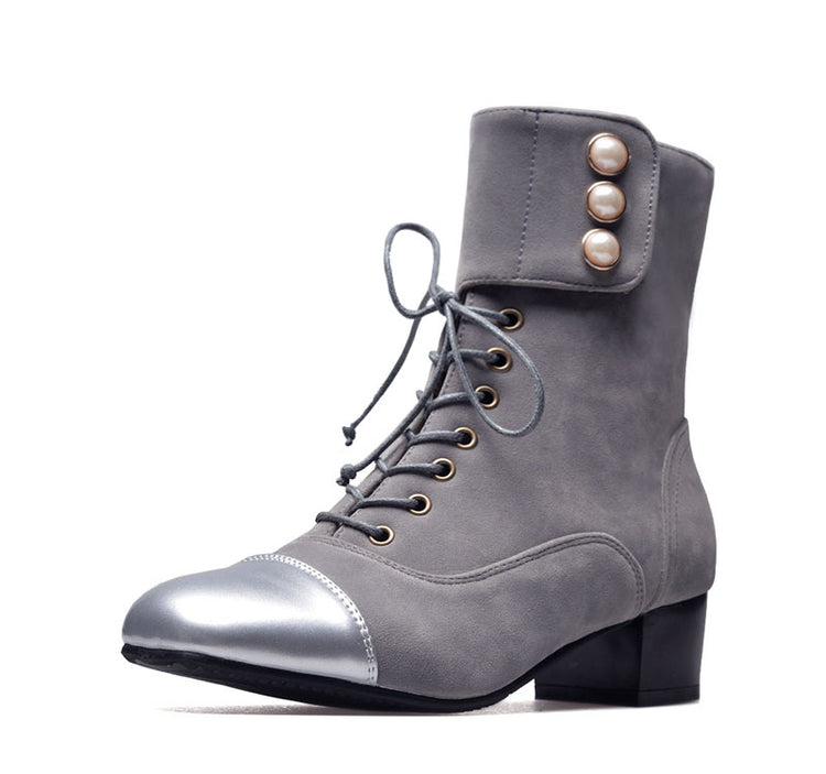 Big Size Square Head With Lace-up Ankle Boots