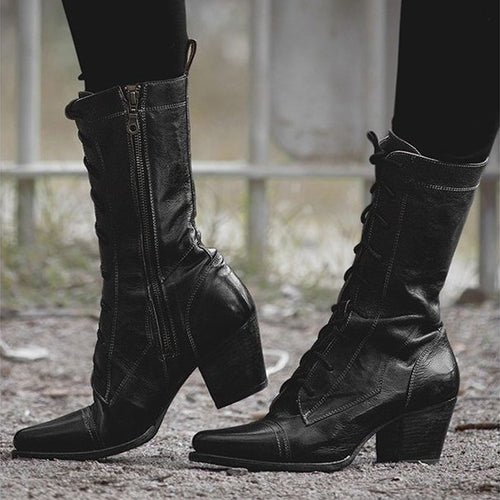 High Heel Middle Height Leather Boots